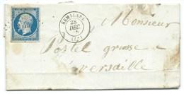 N° 14 NAPOLEON BLEU SUR LETTRE / REMALARD POUR VERSAILLES / 28 DEC 1855 - Storia Postale