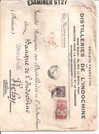 Lettre De Saigon Pour La France 1940 Distilleries De L Indochine Par Bateau Via Madagascar Censurebritannique - Indochine (1889-1945)