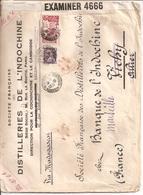 Lettre De Saigon Pour La France 1940 Distilleries De L Indochine Par Bateau Via Madagascar Censurebritannique - Indochina (1889-1945)