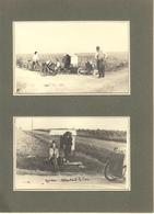 QUISSAC (47) LAUGNAC 1941 -EN ATTENDANT LE CAR - TERRASSE DU CHATEAU- PLANCHE DE 2 PHOTOS CARTES RECTO VERSO - Places