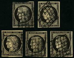 FRANCE - YT 3 - CERES IIe REPUBLIQUE - LOT DE 5 TIMBRES OBLITERES - 1849-1850 Ceres