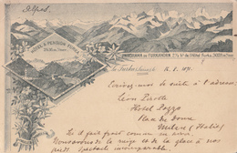 Hôtel & Pension Furka Panorama Du Furkahorn Litho Postcard 1891(!) - VS Valais