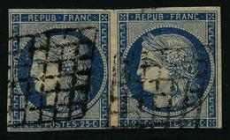 FRANCE - YT 4 X2 - CERES IIe REPUBLIQUE - PAIRE HORIZONTALE - TIMBRES OBLITERES - 1849-1850 Ceres