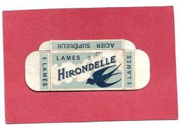 916 -LAMES DE RASOIR .  BOITE VIDE . IHIRONDELLE .TRANCHANT ACERE . ACIER SUPERIEUR - Lames De Rasoir