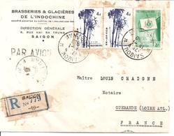 Lettre Recommandée De Saigon Pour La France Brasseries Et Glacières De L'indochine 1958 - Viêt-Nam