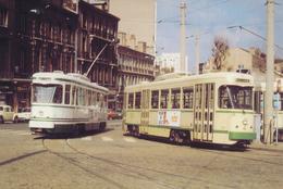 Saint Etienne (42) Motrices PCC N°507 & 521. Place Bellevus - Mars 1982 - Tramways