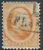 PAYS BAS - 1864 - YT N°6 - 15 C. Orange - Dentelé - Oblitéré - TB Etat - Gebruikt