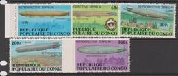 Congo People's Republic Of Sc 408-412 1977 History Of Zeppelins, Used - Zeppelins