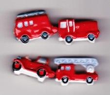 4 Feves Véhicules Pompiers Camion Pompier Type 1930 1960 1980  2000 - Fèves