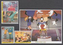 Maldives - Correo Yvert 1521/4+H.238 ** Mnh  Walt Disney - Maldives (1965-...)