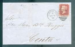 GIBRALTAR DEVANT LETTRE COVER 1879 A26 POUR CEUTA MAROC RARE TB - Gibraltar