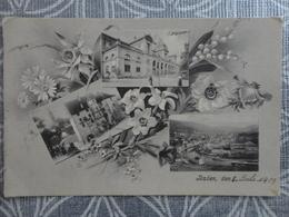 SUISSE BADEN AARGAU CARTE MULTIVUE CIRCULE EN 1909 - Switzerland