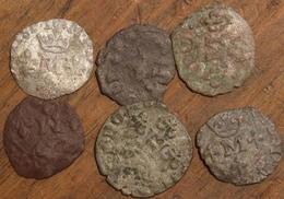 Lot De 6 Liards, Henri Et Marie Ou Maurice - 476-1789 Monnaies Seigneuriales