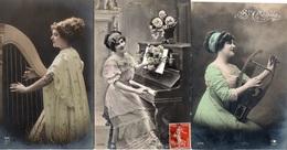 99Avi  Lot De 3 Cpa Femmes Musiciennes Harpe Et Piano Même Correspondance - Donne