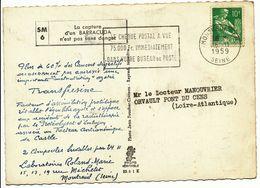 SEINE CP LABORATOIRE ROLAND-MARIE ADRESSEE A UN MEDECIN 1959 MONTREUIL PPAL SM6 BARRACOUDA - Poststempel (Briefe)