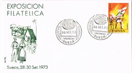 35412. Carta SUECA (Valencia) 1973. Exposicion Filatelica, Paella Valenciana, Gastronomia - 1931-Hoy: 2ª República - ... Juan Carlos I