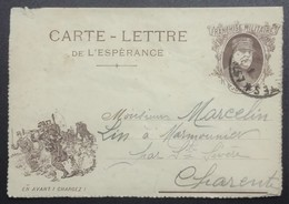 Carte-lettre De Franchise Militaire Illustrée Clairon Charge Et Joffre Du 324e Infanterie > Marmounier Sainte-Sévère - Marcophilie (Lettres)