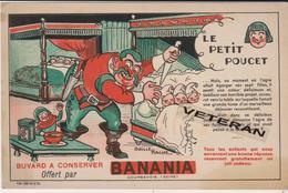 RARE BUVARD 1935 BANANIA LE PETIT POUCET ILLUSTRE PAR BAILLE HACHE - Alimentaire