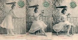 99Avi  Lot De 5 Cpa Serie Femme Charmeuse Gorge Nue Chapeau Même Correspondance - Donne
