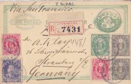 Entier 3s Recommandé Yokohama Le 16 Nov 97 + TP En Complément 20s Pour L'Allemagne (Strasbourg), Dessin Au Dos - Ganzsachen