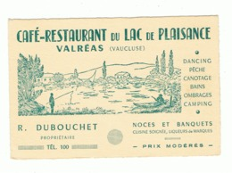 "Carte De Visite - Café - Restaurant De "" Lac De Plaisance "" à VALREAS ( Vaucluse ) (b273) - Cartoncini Da Visita"