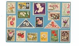 FLOWERS ON STAMPS,  Old Chrome USA Postcard - Publicité