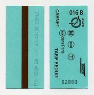 French Green Metro Ticket - Ticket De Métro Vert - Metro Métro - Paris - France Francia Frankreich - Tube - Underground - Europe
