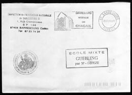 Cad Flamme Sarrebourg Vitraux De Chagall Peintre  22/01/1993  Vers Guebling Moselle  TB - Marcophilie (Lettres)
