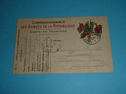 CPA Illustrée 1915, Carte En Franchise, Correspondance Des Armées, WW1, Drapeaux Alliés, Chasseurs Forestiers 9e Cie - War 1914-18