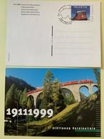 9877 - 2 Entiers Postaux Train Ouverture De La Ligne Vereina 1999 Neuf Et FDC - Interi Postali