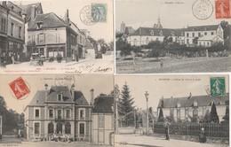 4 CPA:SÉZANNE (51) CAISSE D'ÉPARGNE,LE PUITS DORÉ CAFÉ FILLION,HOSPICE,HÔTEL DE VILLE JARDIN..ÉCRITES - Sezanne