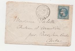 Commune De Paris  Enveloppe VERSAILLES  A.S.N.A. Sur N° 29 Variété  17 MAI 1871 Arrivée Bar Sur Aube Le 18/05/1871 - 1863-1870 Napoléon III Con Laureles