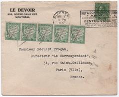 Lettre Canada 1927 TAXE Paris Bande De Quatre 45c Vert Banderole Duval Préoblitération Triangle Rouge (barrette) SUP! - Strafport