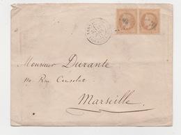 Commune De Paris  Enveloppe VERSAILLES  A.S.N.A. Sur  Paire  N° 28   11/04 / 1871 Arrivée Marseille 13/04/1871 - 1863-1870 Napoléon III Con Laureles
