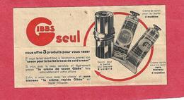 916 - ANCIENNE PUBLICITE GIBBS 9.5 CM SUR 5 CM . SAVON A BARBE . CADEAU TIRELIRE POUR LAMES USAGEES SCANS RECTO VERSO - Lames De Rasoir
