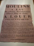 POUAN RARE AFFICHE DE LOCATION DU MOULIN A EAU FAISANT BLE FARINE AVEC DEUX ROUES A MR LE COMTE DE LABRIFFE A ARCYS 1821 - France