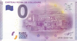 """FRANCE / Billet Touristique / Souvenir 0 €uro - 2015 """" CHÂTEAU ROYAL DE COLLIOURE """". - Essais Privés / Non-officiels"""