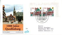 """BRD Schmuck-FDC """"1000 Jahre Stadt Quedlinburg"""" Mi. 2x 1765 ESSt 9.11.1994 BERLIN 12 - FDC: Covers"""