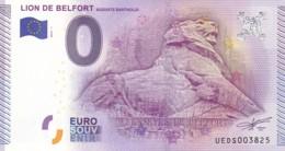 """FRANCE / Billet Touristique / Souvenir 0 €uro - 2015 """" LION DE BELFORT """". - Essais Privés / Non-officiels"""