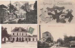 """4 CPA:ROMILLY SUR SEINE (10) ATTELAGE AU MOULIN,SOUVENIR """"LES CHAUSSETTES"""",MOULIN HÉRISSÉ RAVERDEAU,LA GARE.ÉCRITES - Romilly-sur-Seine"""