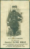 WO1 / WW1 - Doodsprentje Vande Walle Constant - Mechelen / Izegem - Gesneuvelde - Obituary Notices