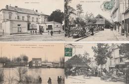 4 CPA:RETHEL (08) JOUR DE MARCHÉ,COIN DU MARCHÉ LA HALLE,SOUS PRÉFECTURE,PASSAGE BARQUE INONDATION JANVIER 1910 - Rethel