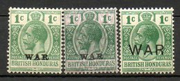 HONDURAS - (Colonie Britannique) - 1916 - N° 86 à 89 - (Lot De 3 Valeurs Différentes) - (George V) - Honduras