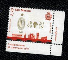 San Marino 2019 120 Anni Milan Calcio 1v  Complete Set ** MNH - Unused Stamps