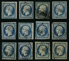 FRANCE - YT 10 - PRESIDENCE - LOUIS NAPOLEON - LOT DE 12 TIMBRES OBLITERATIONS PC - 1852 Louis-Napoléon
