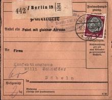 ! 1934 Paketkarte Deutsches Reich, Berlin 19 Nach Döbeln - Covers & Documents