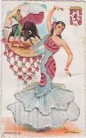 Cpa ANDALUCIA - Carte Brodée - Danseuse Et Torero - Non Classificati