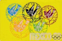 MEXICO JEUX OLYMPIQUES 1968 CARTE POSTAL PALOMAS MEXICANAS DE LA PAZ PALOMBE EN RELIEF FEUTRE 2 TRACES DERRIERE VOIRSCAN - Jeux Olympiques
