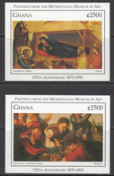 1996 Ghana Art Paintings Metropolitan Museum Complete Set Of 2 Sheets MNH - Ghana (1957-...)
