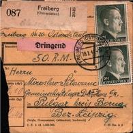 ! 1944 Paketkarte Deutsches Reich, Freiberg Sudetenland Nach Pulgar, D.A.F, Lager - Germania